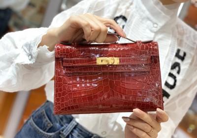 爱马仕中国 Mini Kelly 22cm 酒红色